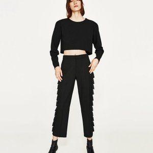 Zara black side tassel fringe flare cropped pants